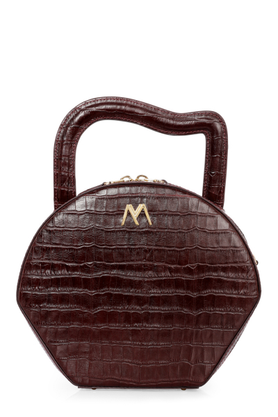 NORA CALF LEATHER BAG BURGUNDY CROC EMBOSSED