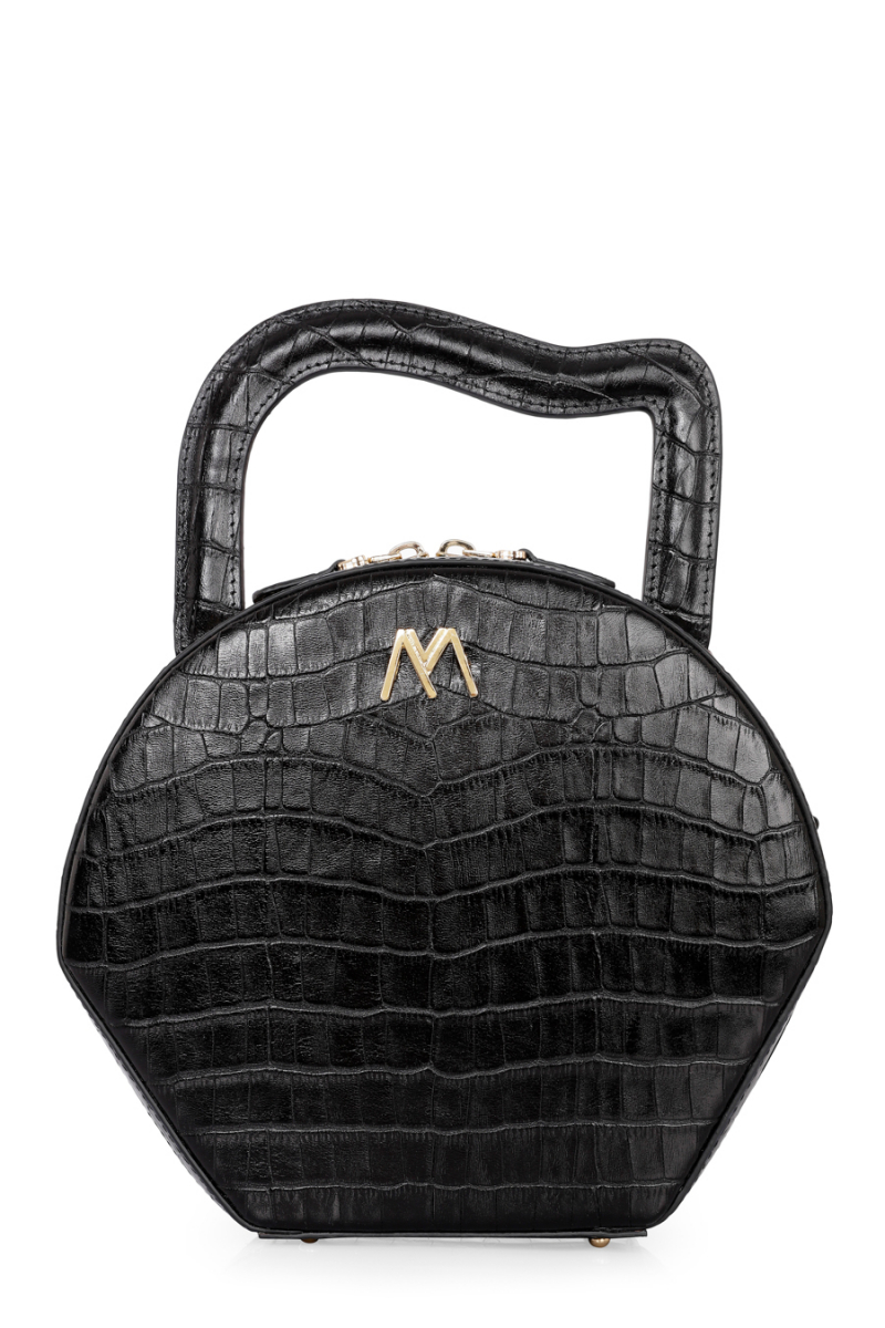 NORA CALF LEATHER BAG BLACK CROC EMBOSSED