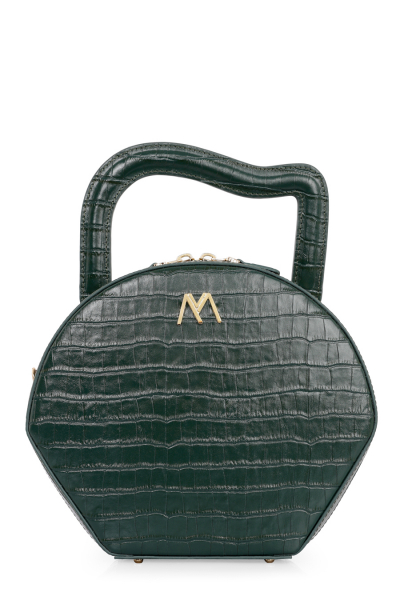 NORA CALF LEATHER BAG GREEN CROC EMBOSSED NORA CALF LEATHER BAG GREEN CROC EMBOSSED