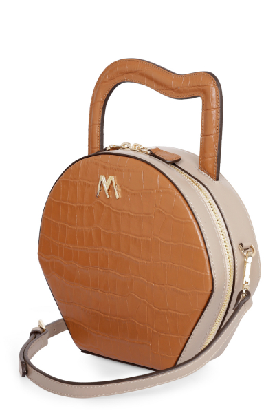 NORA LEATHER BAG TAN/MINK CROC EMBOSSED