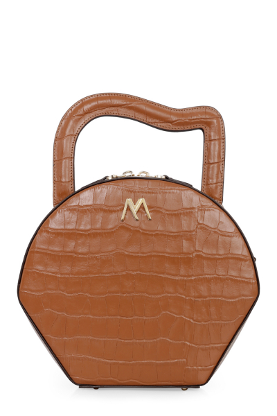 NORA LEATHER BAG TAN/MINK CROC EMBOSSED NORA LEATHER BAG TAN/MINK CROC EMBOSSED