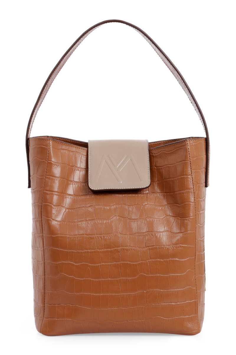 BELLA CALF LEATHER HOBO BAG TAN CROC EMBOSSED