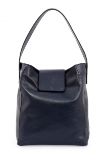 BELLA CALF LEATHER HOBO BAG NAVY