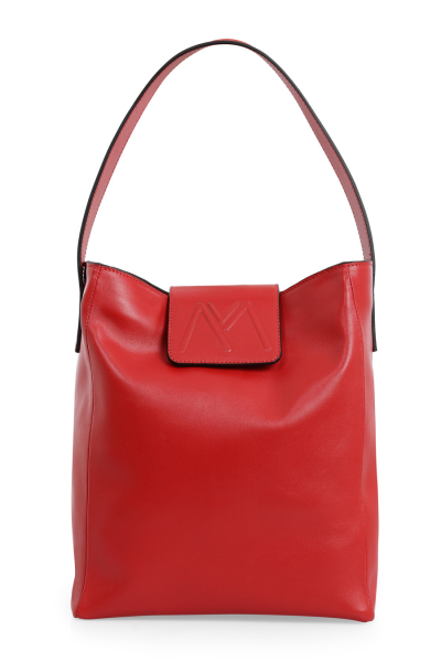 BELLA CALF HOBO LEATHER BAG RED