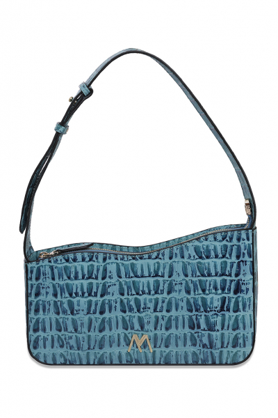 EPHRON LEATHER BAGUETTE BAG BLUE CROC EMBOSSED