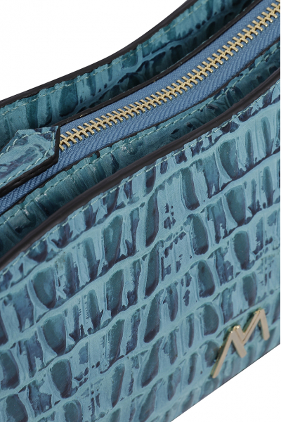 EPHRON LEATHER BAGUETTE BAG BLUE CROC EMBOSSED EPHRON LEATHER BAGUETTE BAG BLUE CROC EMBOSSED
