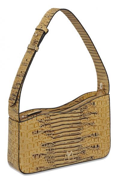 EPHRON LEATHER BAGUETTE BAG YELLOW CROC EMBOSSED EPHRON LEATHER BAGUETTE BAG YELLOW CROC EMBOSSED