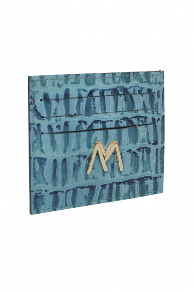 BLUE CROC-EMBOSSED LEATHER SLIM CREDIT CARD HOLDER