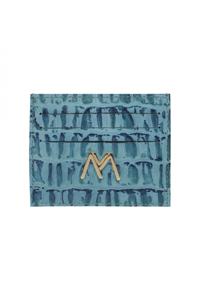 BLUE CROC-EMBOSSED LEATHER SLIM CREDIT CARD HOLDER BLUE CROC-EMBOSSED LEATHER SLIM CREDIT CARD HOLDER
