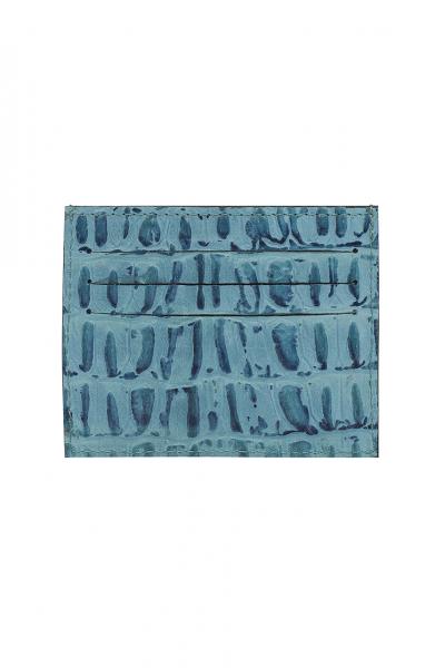 BLUE CROC-EMBOSSED LEATHER SLIM CREDIT CARD HOLDER BLUE CROC-EMBOSSED LEATHER SLIM CREDIT CARD HOLDER