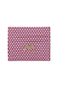 MAGENTA-WHITE DOTTED SUEDE SLIM CREDIT CARD HOLDER