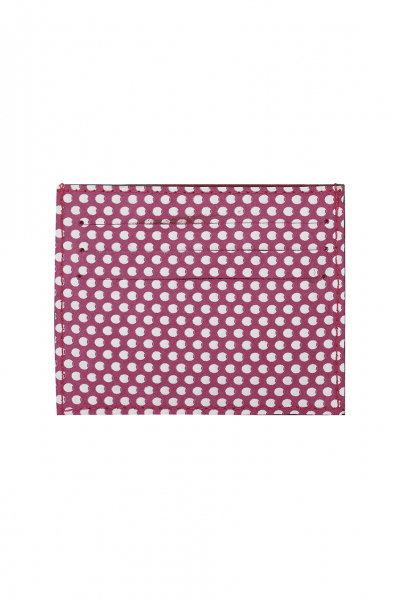 MAGENTA-WHITE DOTTED SUEDE SLIM CREDIT CARD HOLDER  MAGENTA-WHITE DOTTED SUEDE SLIM CREDIT CARD HOLDER