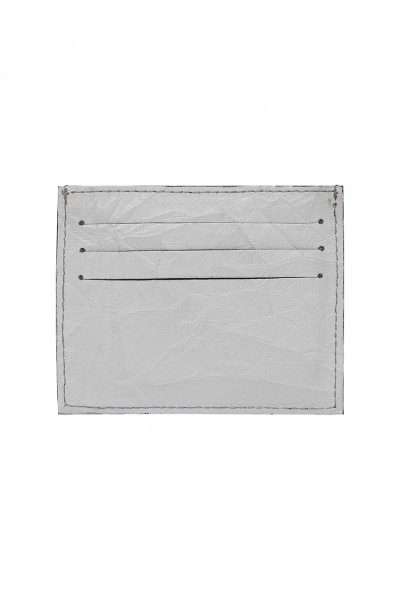 SILVER GREY WRINKLED LEATHER SLIM CREDIT CARD HOLDER SILVER GREY WRINKLED LEATHER SLIM CREDIT CARD HOLDER