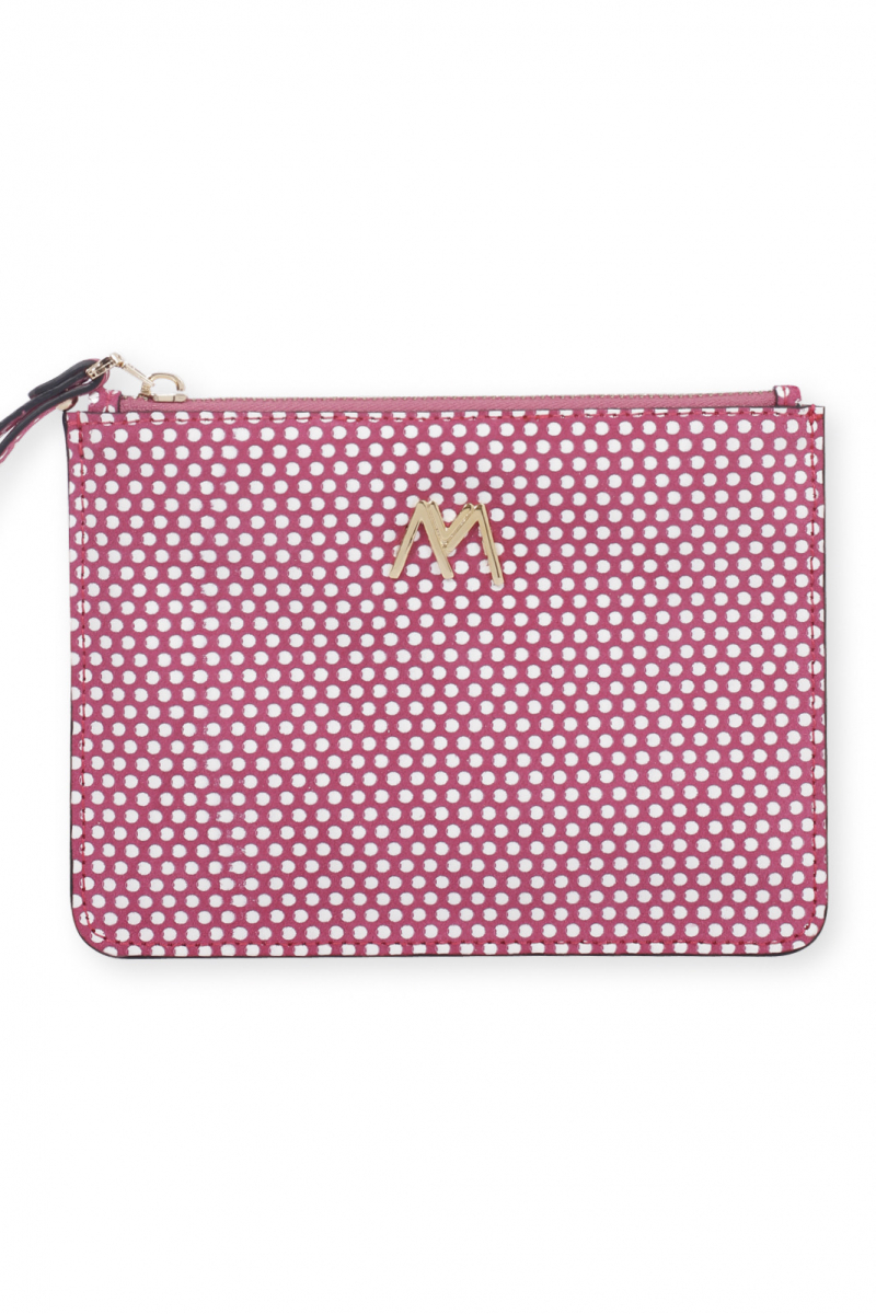 ESSENTIAL POUCH MAGENTA-WHITE DOTTED SUEDE