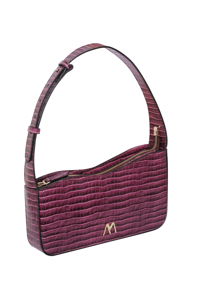 EPHRON LEATHER BAGUETTE BAG purple CROC EMBOSSED