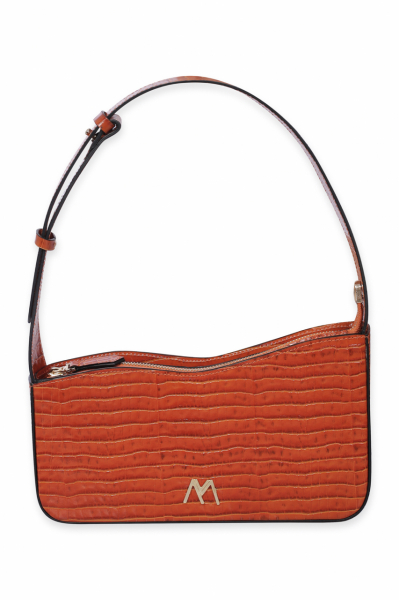 EPHRON LEATHER BAGUETTE BAG ORANGE CROC EMBOSSED