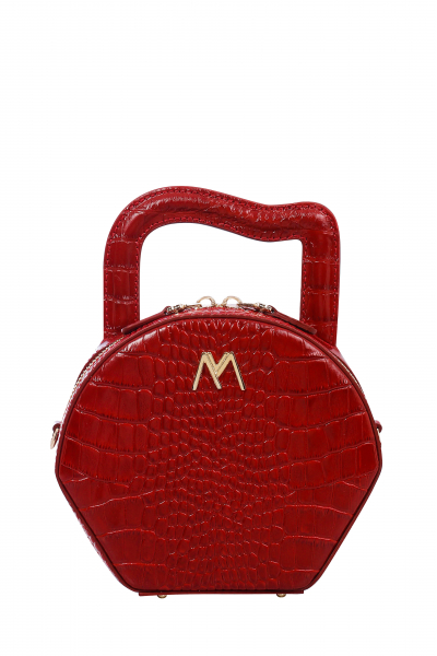 MINI NORA LEATHER BAG RED CROC EMBOSSED