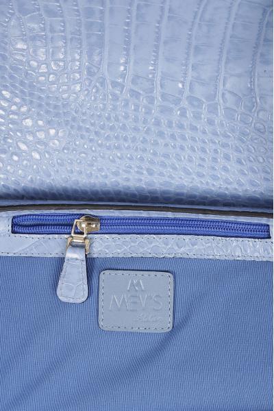 NANCY LEATHER  BAG BLUE CROC EMBOSSED