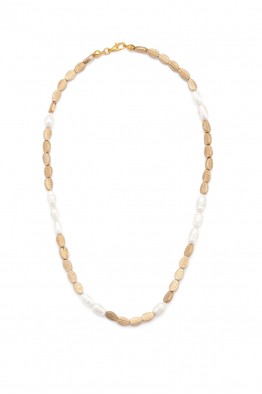 Glowing Diaries LEAF PEARL NECKLACE