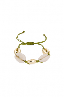 Glowing Diaries GREEN MULTI COWRIE BRACELET