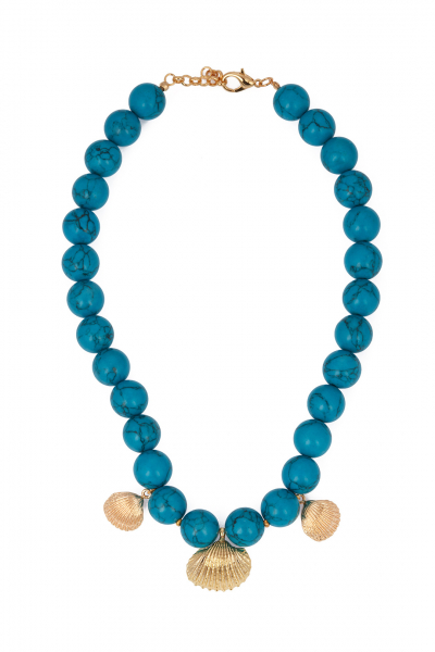 Glowing Diaries Multi Shell Turquoise Necklace