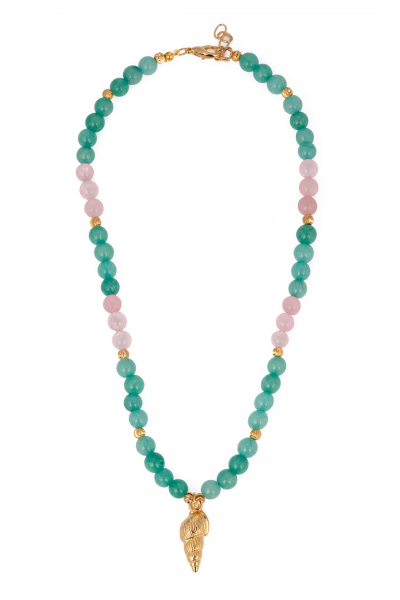 PINK & GREEN SHELLY NECKLACE PINK & GREEN SHELLY NECKLACE