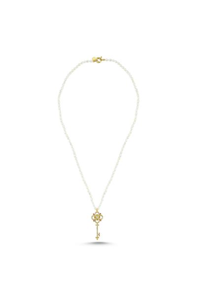 Taşlı Anahtar Arpa İnci Kolye / Gold