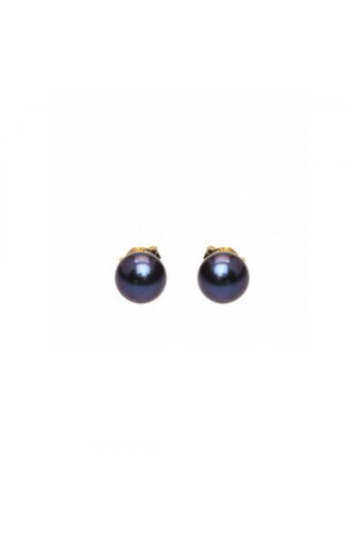 Klasik Top Siyah İnci Küpe / Büyük
