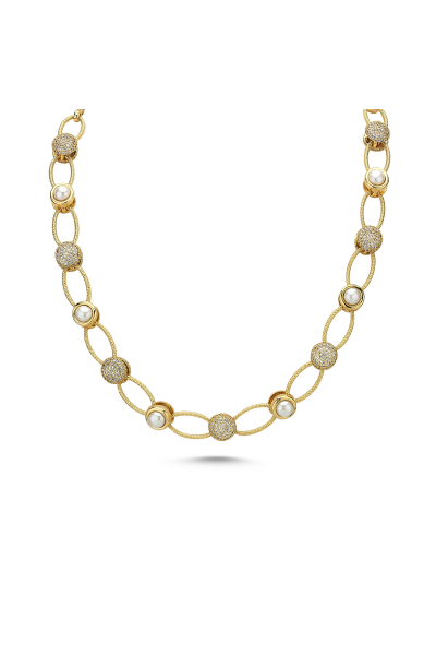 Pearlshine Zincir - Taşlı Kısa Gold Pearlshine Zincir - Taşlı Kısa Gold