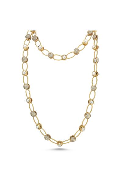 Pearlshine Zincir - Taşlı Uzun Gold Pearlshine Zincir - Taşlı Uzun Gold