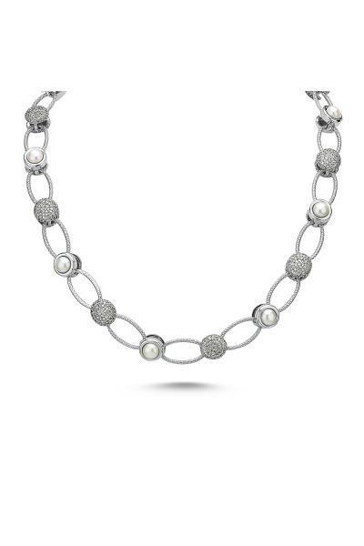 Pearlshine Zincir - Taşlı Kısa Silver Pearlshine Zincir - Taşlı Kısa Silver