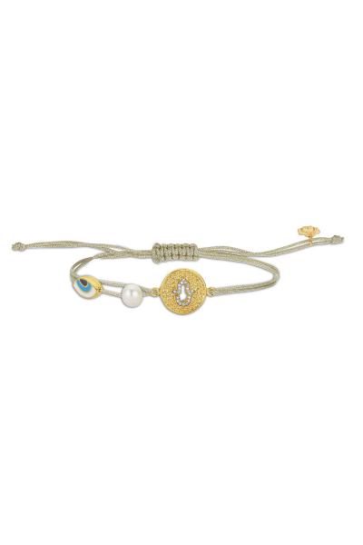 Gold Örgü Bileklik - Dövme Plaka Hamsa  Gold Örgü Bileklik - Dövme Plaka Hamsa
