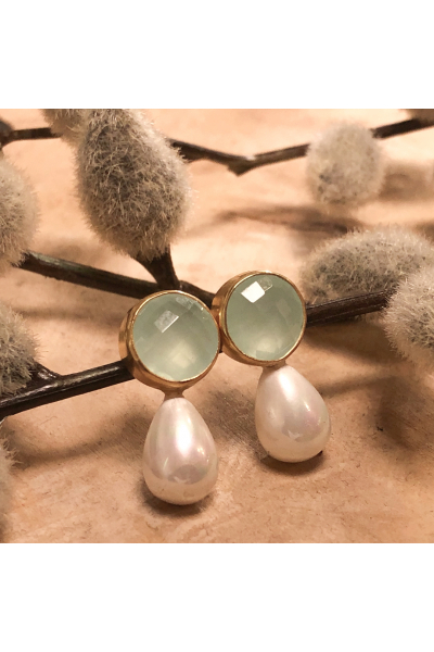 Stelart Jewelry Bacchus Earring | Jade & Pearl | 18K Gold Plated