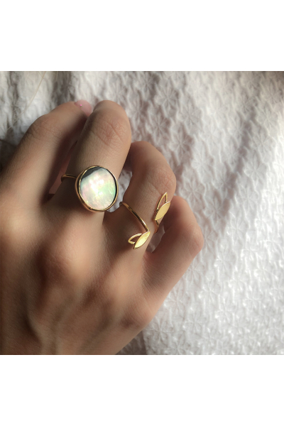 Stelart Jewelry Dual Ring | Nacre | 18K Gold Plated