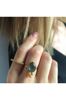 Stelart Jewelry Bacchus Ring | Smokey Quartz | 18K Gold Plated