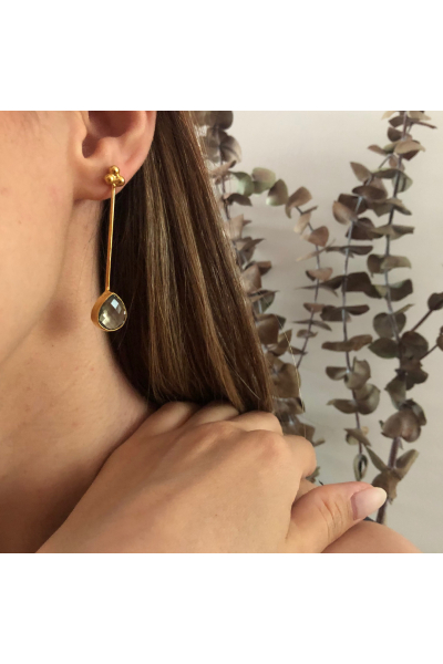 Bacchus Earring | Smokey Quartz | 18K Gold Plated Bacchus Earring | Smokey Quartz | 18K Gold Plated
