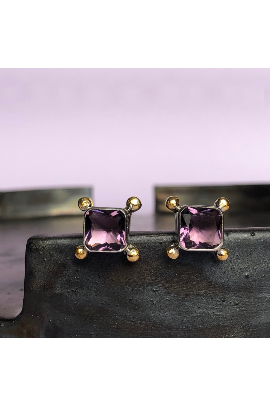 Bacchus Earring | Amethyst | 18K Gold Plated