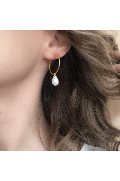 Circle Hoop Earring | White Pearl | 18K Gold Plated Circle Hoop Earring | White Pearl | 18K Gold Plated