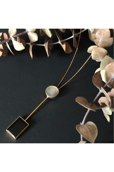 Dual Necklace | Onyx & Nacre | 18K Gold Plated