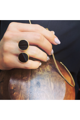 Stelart Jewelry Dual Ring | Agate | 18K Gold Plated