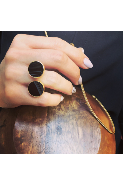 Dual Ring | Agate | 18K Gold Plated