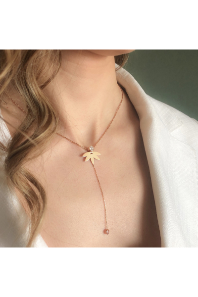 Stelart Jewelry Flux Palm Necklace | Zircon | Rosegold Plated