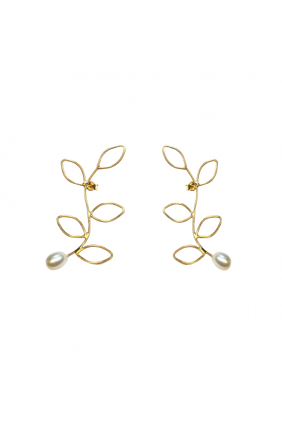 Flux Earring | White Pearl | 18K Gold Plated