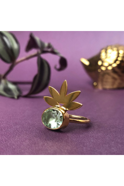 Flux Palm Ring | Zircon | 18K Gold Plated
