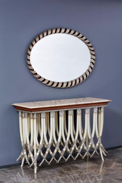 Fil Dişi Ahşap El Oyması Dresuar ve Ayna Fil Dişi Ahşap El Oyması Dresuar ve Ayna