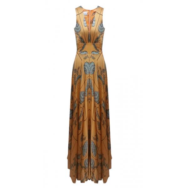 Desenli İpek Gece Elbisesi (özel Dikilir)