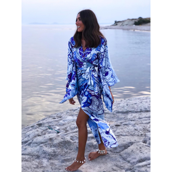 %100 İpek Çini Desenli Kimono Elbise