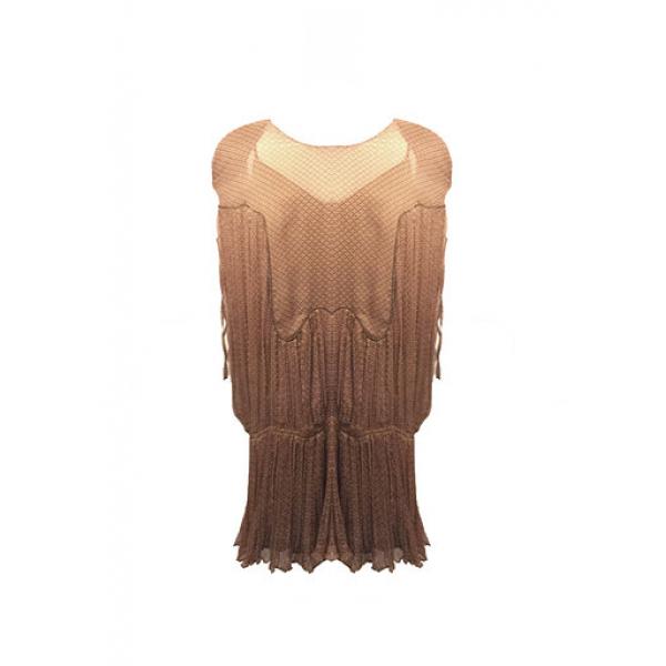 Kahverengi %100 İpek Şifon Omzu Vatkalı Elbise