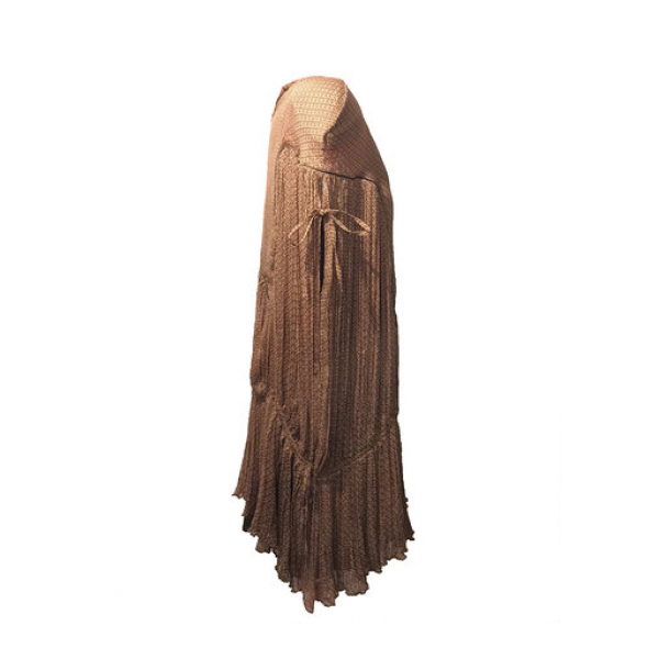 Kahverengi %100 İpek Şifon Omzu Vatkalı Elbise Kahverengi %100 İpek Şifon Omzu Vatkalı Elbise