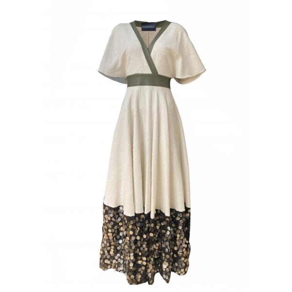 White Orchid Dress - Etek Ucu Pullu Dokuma Elbise